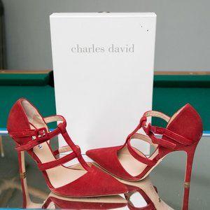 Charles David Red Suede Georgina Dress Pump Heels